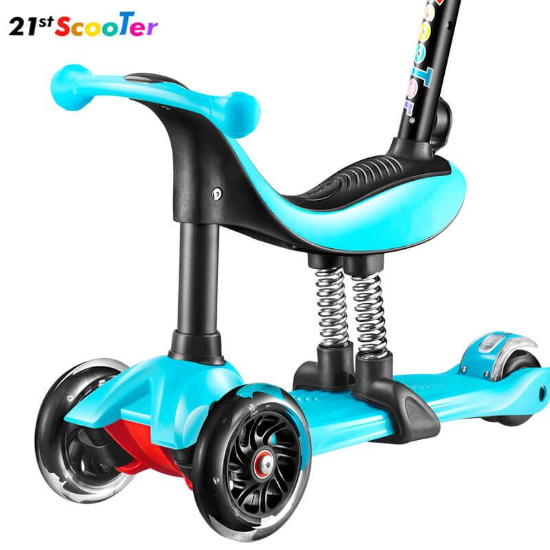 Детский трёхколёсный самокат-беговел 4 в 1 с сиденьем, родительской ручкой и светящимися колёсами 21st Scooter RO203M-4 - 7