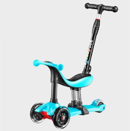 Детский трёхколёсный самокат-беговел 4 в 1 с сиденьем, родительской ручкой и светящимися колёсами 21st Scooter RO203M-4 Голубой - 1