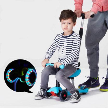 Детский трёхколёсный самокат-беговел 4 в 1 с сиденьем, родительской ручкой и светящимися колёсами 21st Scooter RO203M-4 Голубой - 2