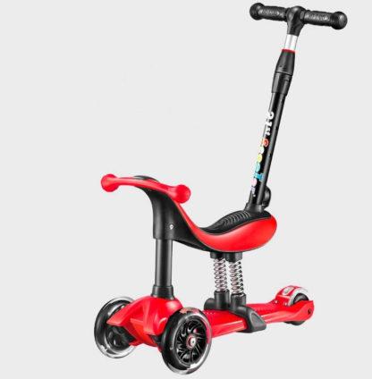 Детский трёхколёсный самокат-беговел 4 в 1 с сиденьем, родительской ручкой и светящимися колёсами 21st Scooter RO203M-4 Красный - 1