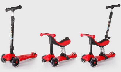 Детский трёхколёсный самокат-беговел 4 в 1 с сиденьем, родительской ручкой и светящимися колёсами 21st Scooter RO203M-4 Красный - 2