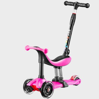 Детский трёхколёсный самокат-беговел 4 в 1 с сиденьем, родительской ручкой и светящимися колёсами 21st Scooter RO203M-4 Розовый - 1