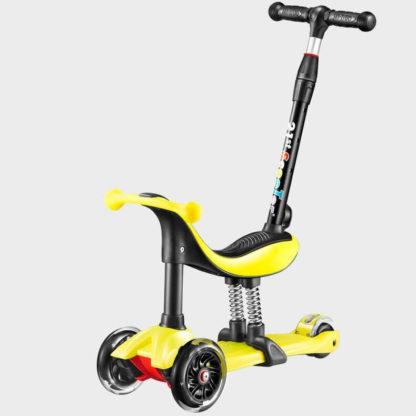 Детский трёхколёсный самокат-беговел 4 в 1 с сиденьем, родительской ручкой и светящимися колёсами 21st Scooter RO203M-4 Жёлтый - 1