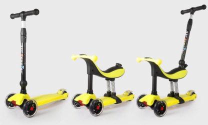Детский трёхколёсный самокат-беговел 4 в 1 с сиденьем, родительской ручкой и светящимися колёсами 21st Scooter RO203M-4 Жёлтый - 2
