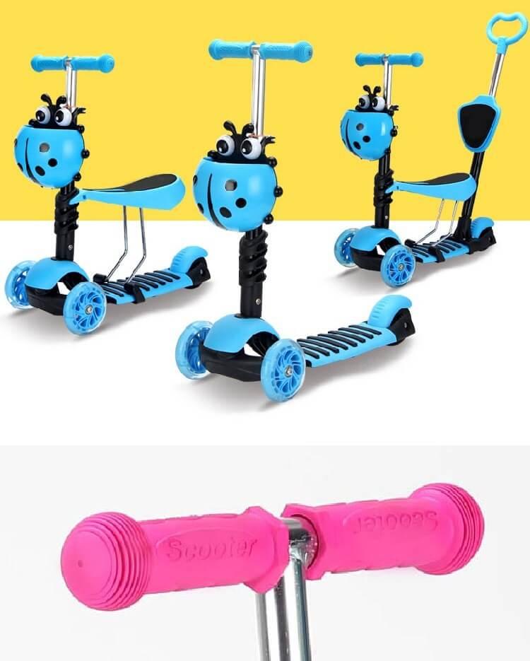 Детский трёхколёсный самокат-беговел 5 в 1 с сиденьем родительской ручкой и светящимися колёсами 21st Scooter 5 in 1 Божья коровка - 1