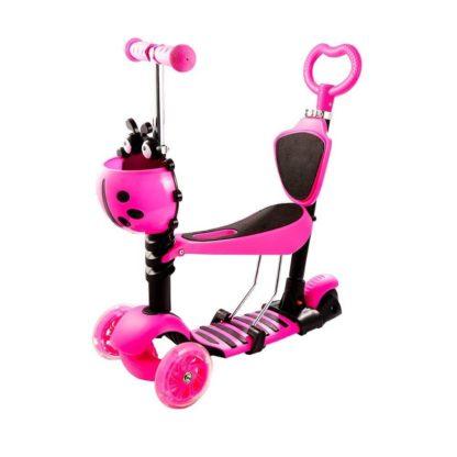 Детский трёхколёсный самокат с родительской ручкой и светящимися колёсами Скутер 5 в 1 Божья коровка 21st Scooter 5 in 1 Розовый - 1