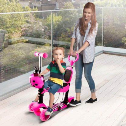 Детский трёхколёсный самокат с родительской ручкой и светящимися колёсами Скутер 5 в 1 Божья коровка 21st Scooter 5 in 1 Розовый - 7
