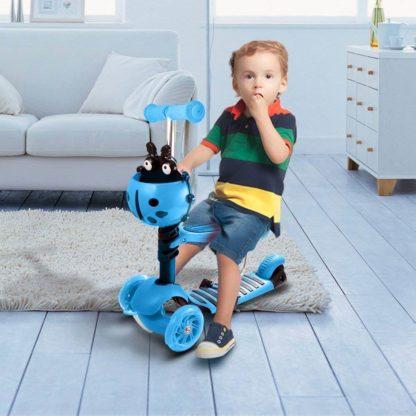Детский трёхколёсный самокат с родительской ручкой и светящимися колёсами Скутер 5 в 1 Божья коровка 21st Scooter 5 in 1 Синий - 6