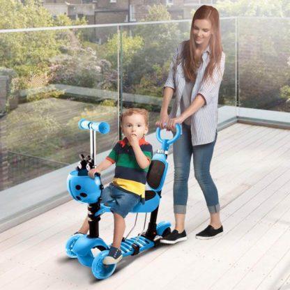Детский трёхколёсный самокат с родительской ручкой и светящимися колёсами Скутер 5 в 1 Божья коровка 21st Scooter 5 in 1 Синий - 7