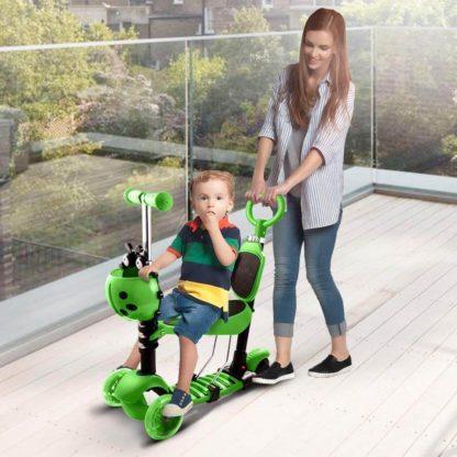 Детский трёхколёсный самокат с родительской ручкой и светящимися колёсами Скутер 5 в 1 Божья коровка 21st Scooter 5 in 1 Зелёный - 7