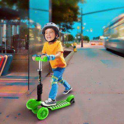 Детский трёхколёсный самокат с родительской ручкой и светящимися колёсами Скутер 5 в 1 Божья коровка 21st Scooter 5 in 1 Зелёный - 8