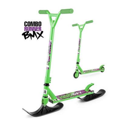 Детский трюковый самокат-снегокат с лыжами и колесами Small Rider Combo Runner BMX Зелёный - 1