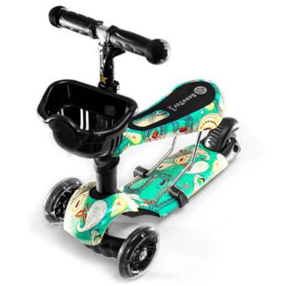 Детский трёхколёсный самокат 3 в 1 с сиденьем и светящимися колёсами 21st Scooter 3 in 1 Print Аква - 1