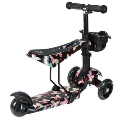 Детский трёхколёсный самокат 3 в 1 с сиденьем и светящимися колёсами 21st Scooter 3 in 1 Print Бабочки - 2
