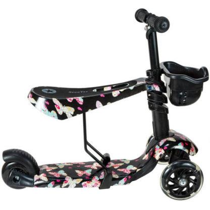Детский трёхколёсный самокат 3 в 1 с сиденьем и светящимися колёсами 21st Scooter 3 in 1 Print Бабочки - 3