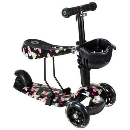 Детский трёхколёсный самокат 3 в 1 с сиденьем и светящимися колёсами 21st Scooter 3 in 1 Print Бабочки - 4