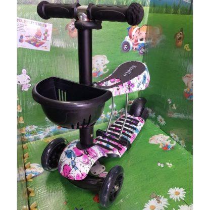Детский трёхколёсный самокат 3 в 1 с сиденьем и светящимися колёсами 21st Scooter 3 in 1 Print Цветы фиолетово-розовые