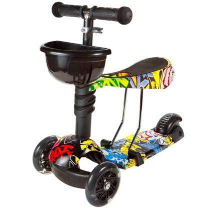 Детский трёхколёсный самокат 3 в 1 с сиденьем и светящимися колёсами 21st Scooter 3 in 1 Print Джокер - 1