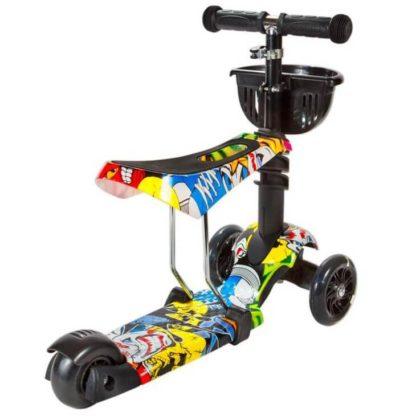 Детский трёхколёсный самокат 3 в 1 с сиденьем и светящимися колёсами 21st Scooter 3 in 1 Print Джокер - 2