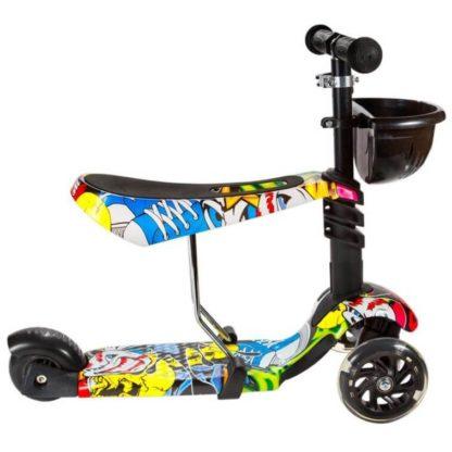 Детский трёхколёсный самокат 3 в 1 с сиденьем и светящимися колёсами 21st Scooter 3 in 1 Print Джокер - 3