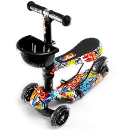Детский трёхколёсный самокат 3 в 1 с сиденьем и светящимися колёсами 21st Scooter 3 in 1 Print Граффити - 1