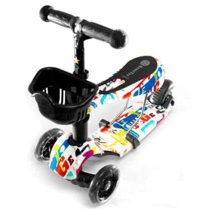 Детский трёхколёсный самокат 3 в 1 с сиденьем и светящимися колёсами 21st Scooter 3 in 1 Print Граффити белый - 1
