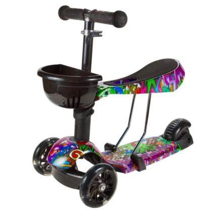 Детский трёхколёсный самокат 3 в 1 с сиденьем и светящимися колёсами 21st Scooter 3 in 1 Print Хип-хоп - 1