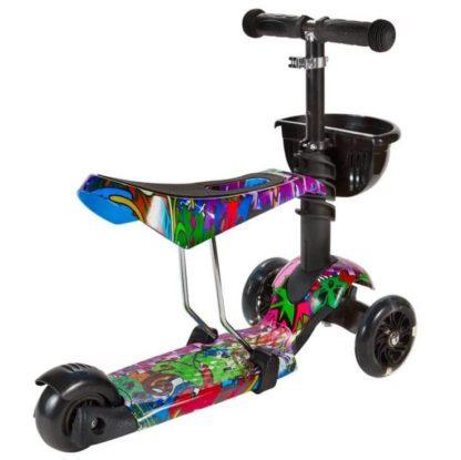 Детский трёхколёсный самокат 3 в 1 с сиденьем и светящимися колёсами 21st Scooter 3 in 1 Print Хип-хоп - 2