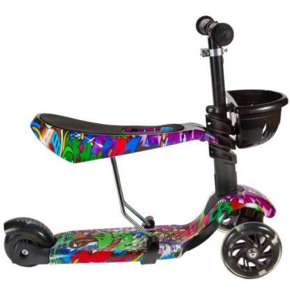Детский трёхколёсный самокат 3 в 1 с сиденьем и светящимися колёсами 21st Scooter 3 in 1 Print Хип-хоп - 3