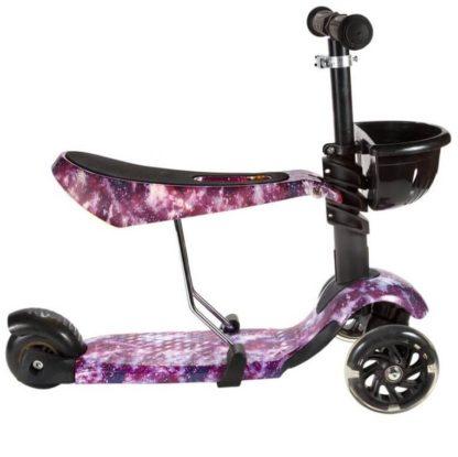 Детский трёхколёсный самокат 3 в 1 с сиденьем и светящимися колёсами 21st Scooter 3 in 1 Print Космос фиолетовый - 3
