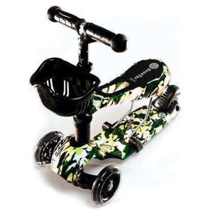 Детский трёхколёсный самокат 3 в 1 с сиденьем и светящимися колёсами 21st Scooter 3 in 1 Print Милитари - 1