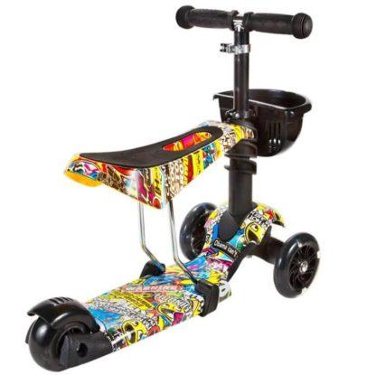 Детский трёхколёсный самокат 3 в 1 с сиденьем и светящимися колёсами 21st Scooter 3 in 1 Print Modern - 2