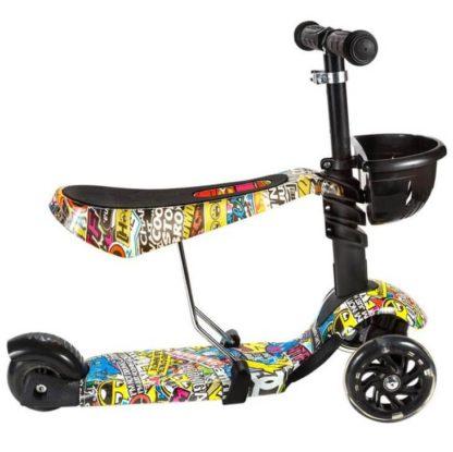 Детский трёхколёсный самокат 3 в 1 с сиденьем и светящимися колёсами 21st Scooter 3 in 1 Print Modern - 3