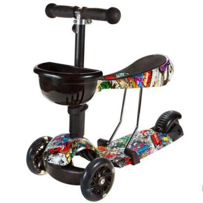 Детский трёхколёсный самокат 3 в 1 с сиденьем и светящимися колёсами 21st Scooter 3 in 1 Print Music - 1
