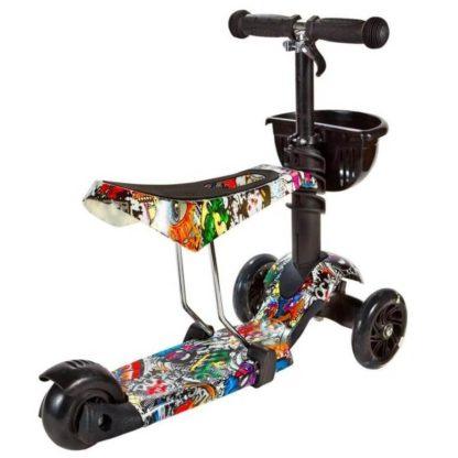 Детский трёхколёсный самокат 3 в 1 с сиденьем и светящимися колёсами 21st Scooter 3 in 1 Print Music - 2