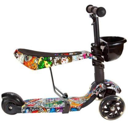 Детский трёхколёсный самокат 3 в 1 с сиденьем и светящимися колёсами 21st Scooter 3 in 1 Print Music - 3