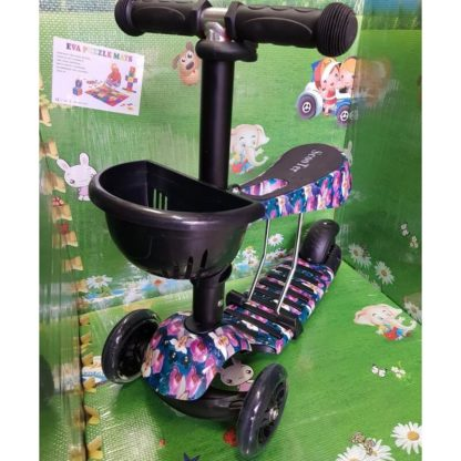 Детский трёхколёсный самокат 3 в 1 с сиденьем и светящимися колёсами 21st Scooter 3 in 1 Print Орхидеи