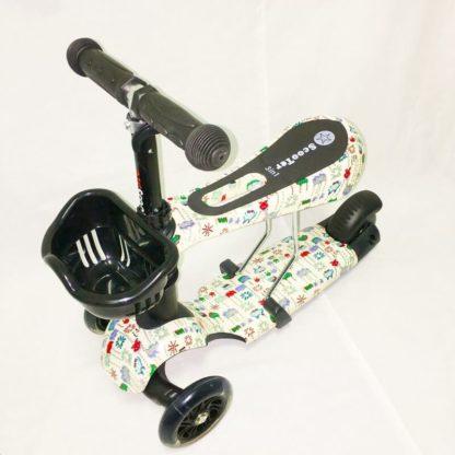 Детский трёхколёсный самокат 3 в 1 с сиденьем и светящимися колёсами 21st Scooter 3 in 1 Print Пиксели - 1