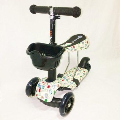 Детский трёхколёсный самокат 3 в 1 с сиденьем и светящимися колёсами 21st Scooter 3 in 1 Print Пиксели - 2