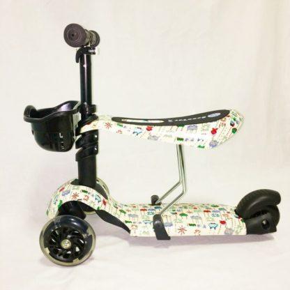 Детский трёхколёсный самокат 3 в 1 с сиденьем и светящимися колёсами 21st Scooter 3 in 1 Print Пиксели - 3