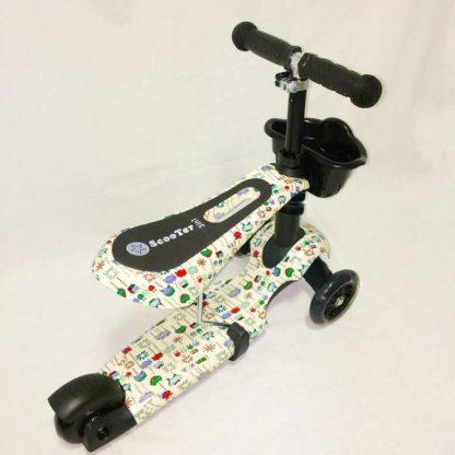 Детский трёхколёсный самокат 3 в 1 с сиденьем и светящимися колёсами 21st Scooter 3 in 1 Print Пиксели - 4