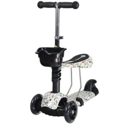 Детский трёхколёсный самокат 3 в 1 с сиденьем и светящимися колёсами 21st Scooter 3 in 1 Print Пиксели - 7