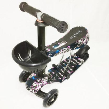 Детский трёхколёсный самокат 3 в 1 с сиденьем и светящимися колёсами 21st Scooter 3 in 1 Print Призрак - 1