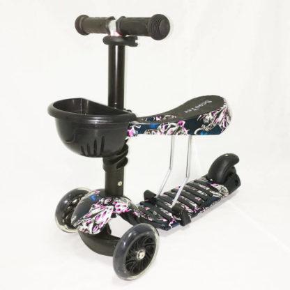 Детский трёхколёсный самокат 3 в 1 с сиденьем и светящимися колёсами 21st Scooter 3 in 1 Print Призрак - 2