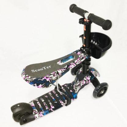Детский трёхколёсный самокат 3 в 1 с сиденьем и светящимися колёсами 21st Scooter 3 in 1 Print Призрак - 4