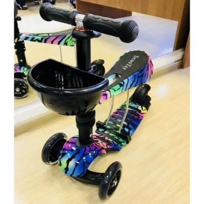 Детский трёхколёсный самокат 3 в 1 с сиденьем и светящимися колёсами 21st Scooter 3 in 1 Print Радужный