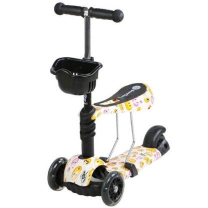 Детский трёхколёсный самокат 3 в 1 с сиденьем и светящимися колёсами 21st Scooter 3 in 1 Print Смайлик - 1