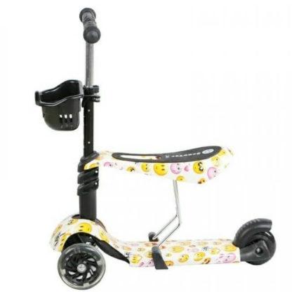 Детский трёхколёсный самокат 3 в 1 с сиденьем и светящимися колёсами 21st Scooter 3 in 1 Print Смайлик - 2