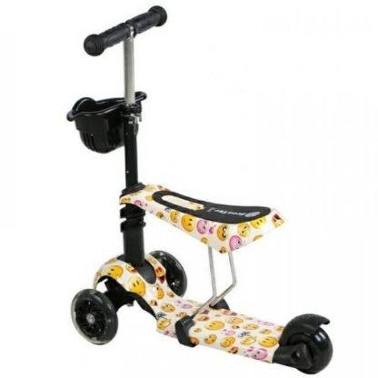 Детский трёхколёсный самокат 3 в 1 с сиденьем и светящимися колёсами 21st Scooter 3 in 1 Print Смайлик - 3