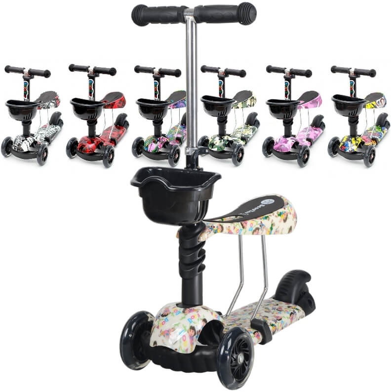 Детский трёхколёсный самокат 3 в 1 с сиденьем и светящимися колёсами 21st Scooter 3 in 1 Print